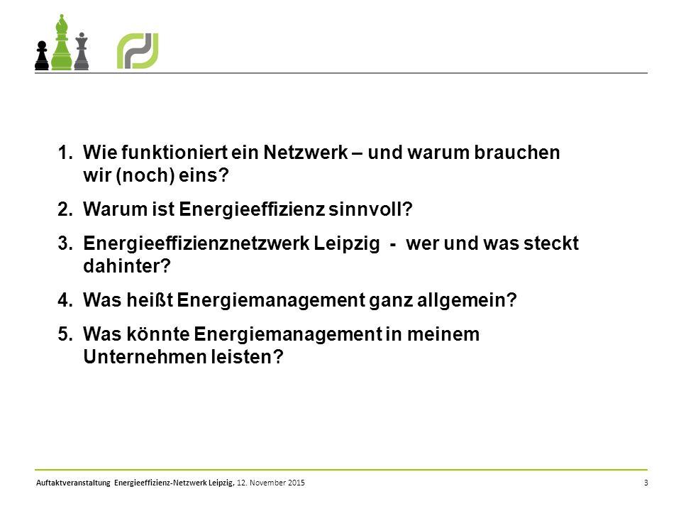 Auftaktveranstaltung Energieeffizienz-Netzwerk Leipzig, 12. November 2015 3 1.Wie funktioniert ein Netzwerk – und warum brauchen wir (noch) eins? 2.Wa