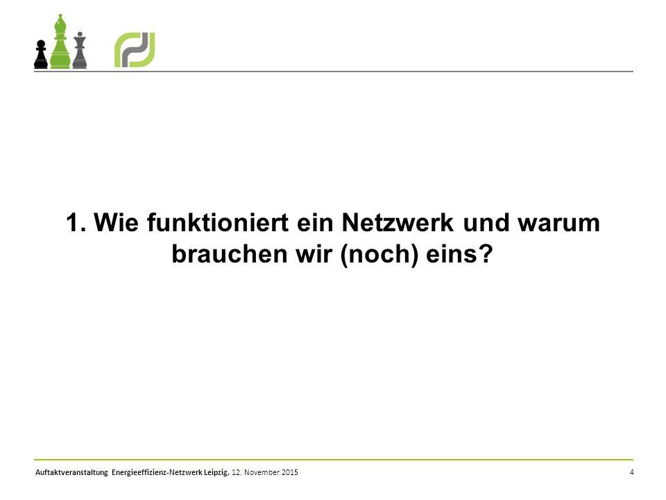 Auftaktveranstaltung Energieeffizienz-Netzwerk Leipzig, 12. November 2015 4 1. Wie funktioniert ein Netzwerk und warum brauchen wir (noch) eins?