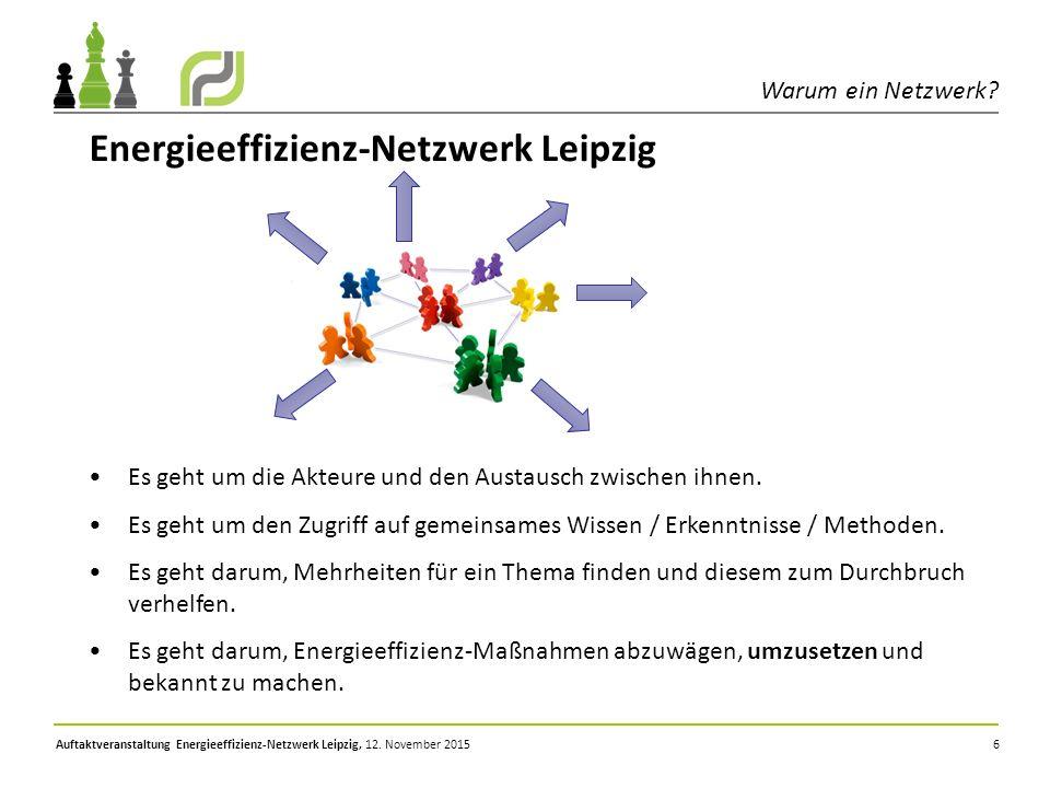 Auftaktveranstaltung Energieeffizienz-Netzwerk Leipzig, 12. November 2015 6 Energieeffizienz-Netzwerk Leipzig Es geht um die Akteure und den Austausch