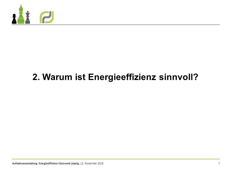 Auftaktveranstaltung Energieeffizienz-Netzwerk Leipzig, 12. November 2015 7 2. Warum ist Energieeffizienz sinnvoll?