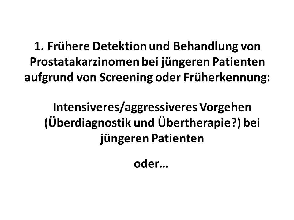 1. Frühere Detektion und Behandlung von Prostatakarzinomen bei jüngeren Patienten aufgrund von Screening oder Früherkennung: Intensiveres/aggressivere