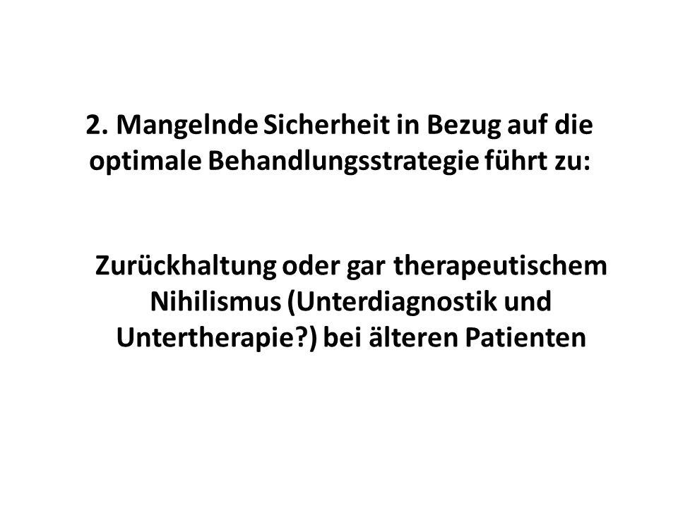 2. Mangelnde Sicherheit in Bezug auf die optimale Behandlungsstrategie führt zu: Zurückhaltung oder gar therapeutischem Nihilismus (Unterdiagnostik un