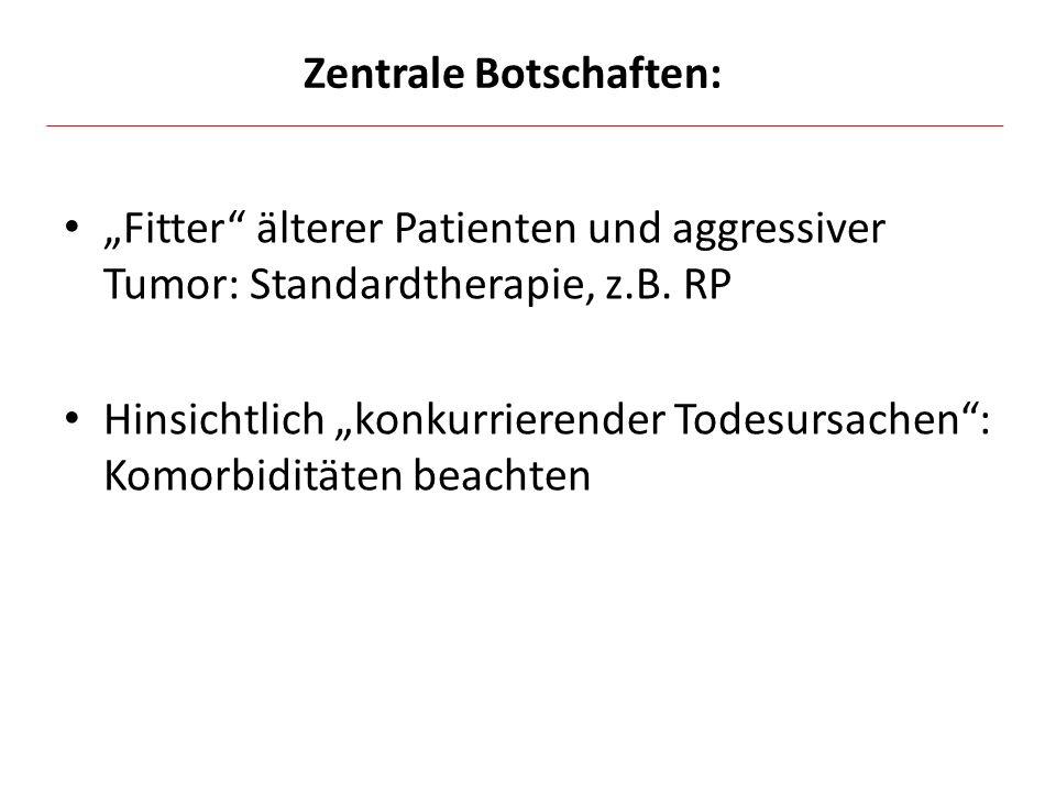 """""""Fitter"""" älterer Patienten und aggressiver Tumor: Standardtherapie, z.B. RP Hinsichtlich """"konkurrierender Todesursachen"""": Komorbiditäten beachten Zent"""