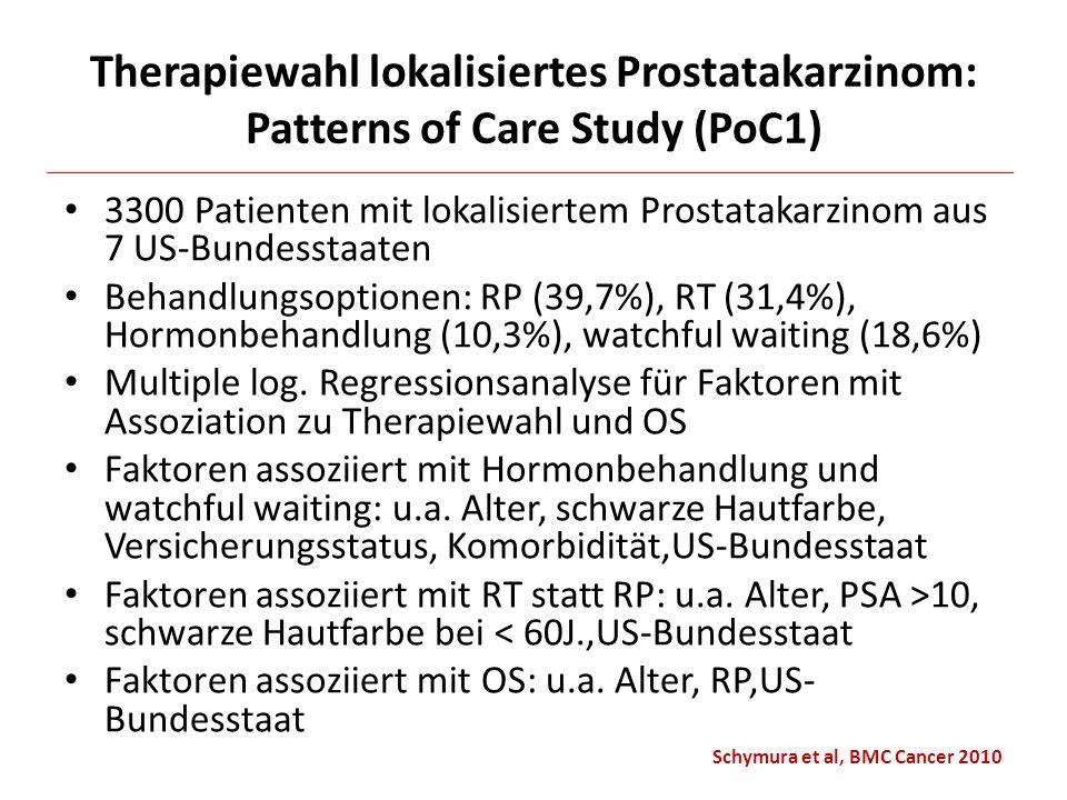 Therapiewahl lokalisiertes Prostatakarzinom: Patterns of Care Study (PoC1) 3300 Patienten mit lokalisiertem Prostatakarzinom aus 7 US-Bundesstaaten Be