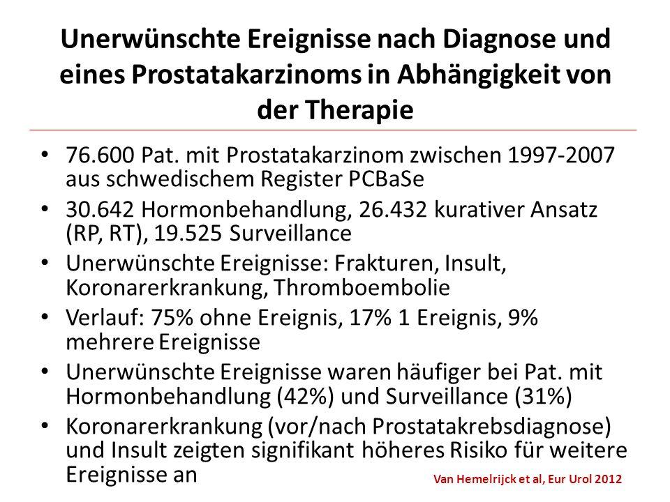 76.600 Pat. mit Prostatakarzinom zwischen 1997-2007 aus schwedischem Register PCBaSe 30.642 Hormonbehandlung, 26.432 kurativer Ansatz (RP, RT), 19.525