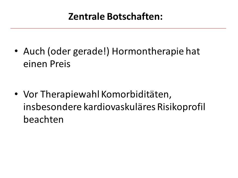 Auch (oder gerade!) Hormontherapie hat einen Preis Vor Therapiewahl Komorbiditäten, insbesondere kardiovaskuläres Risikoprofil beachten Zentrale Botsc