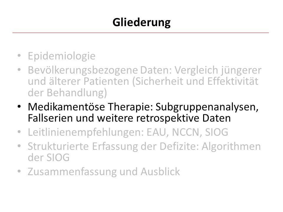 Epidemiologie Bevölkerungsbezogene Daten: Vergleich jüngerer und älterer Patienten (Sicherheit und Effektivität der Behandlung) Medikamentöse Therapie