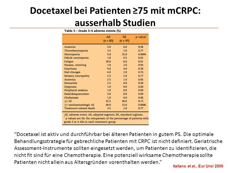 """""""Docetaxel ist aktiv und durchführbar bei älteren Patienten in gutem PS. Die optimale Behandlungsstrategie für gebrechliche Patienten mit CRPC ist nic"""