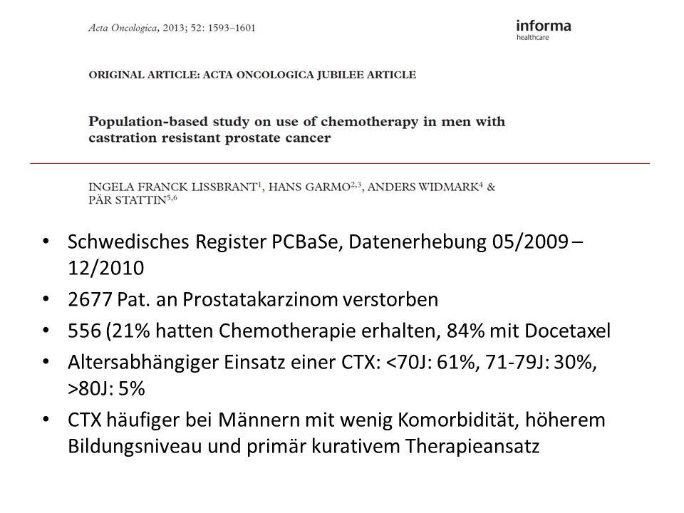 Schwedisches Register PCBaSe, Datenerhebung 05/2009 – 12/2010 2677 Pat. an Prostatakarzinom verstorben 556 (21% hatten Chemotherapie erhalten, 84% mit