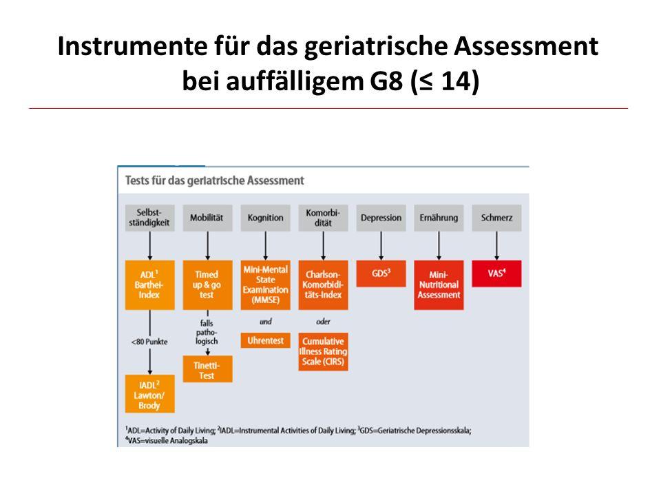 Instrumente für das geriatrische Assessment bei auffälligem G8 (≤ 14)