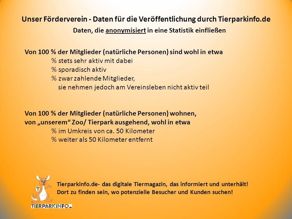 Daten, die anonymisiert in eine Statistik einfließen Unser Förderverein - Daten für die Veröffentlichung durch Tierparkinfo.de Tierparkinfo.de- das di