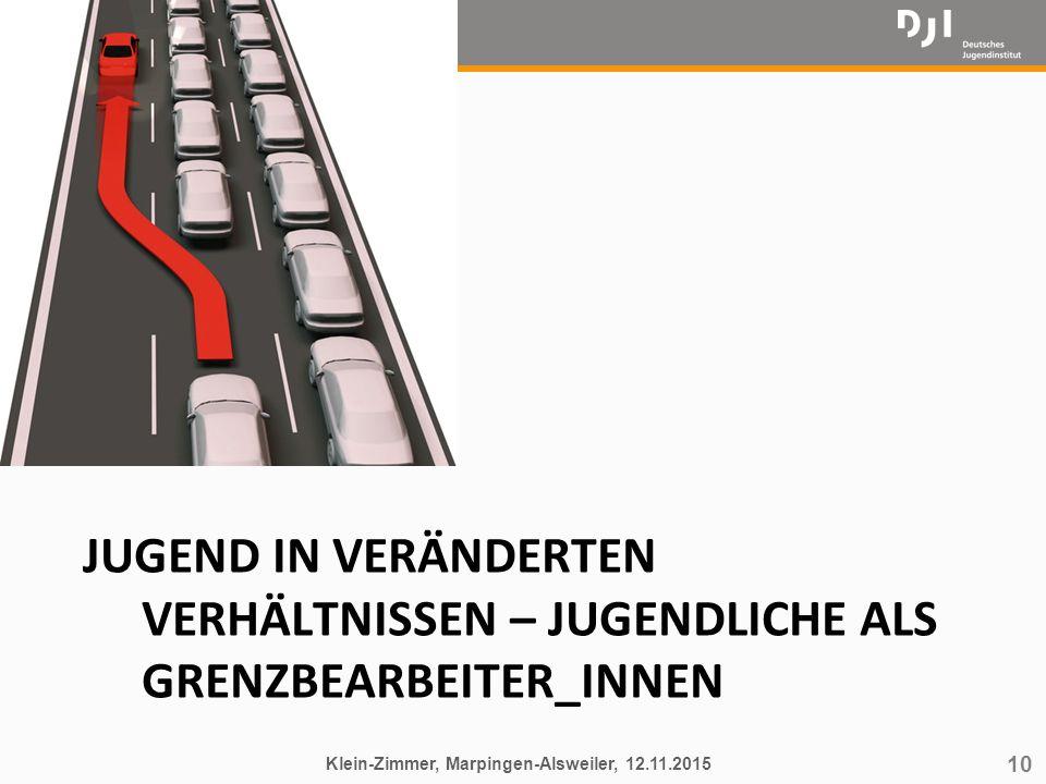 10 JUGEND IN VERÄNDERTEN VERHÄLTNISSEN – JUGENDLICHE ALS GRENZBEARBEITER_INNEN Klein-Zimmer, Marpingen-Alsweiler, 12.11.2015