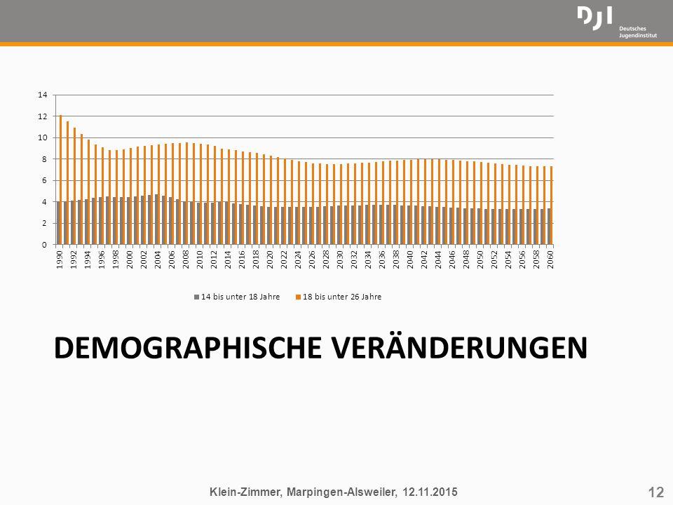 12 DEMOGRAPHISCHE VERÄNDERUNGEN Klein-Zimmer, Marpingen-Alsweiler, 12.11.2015