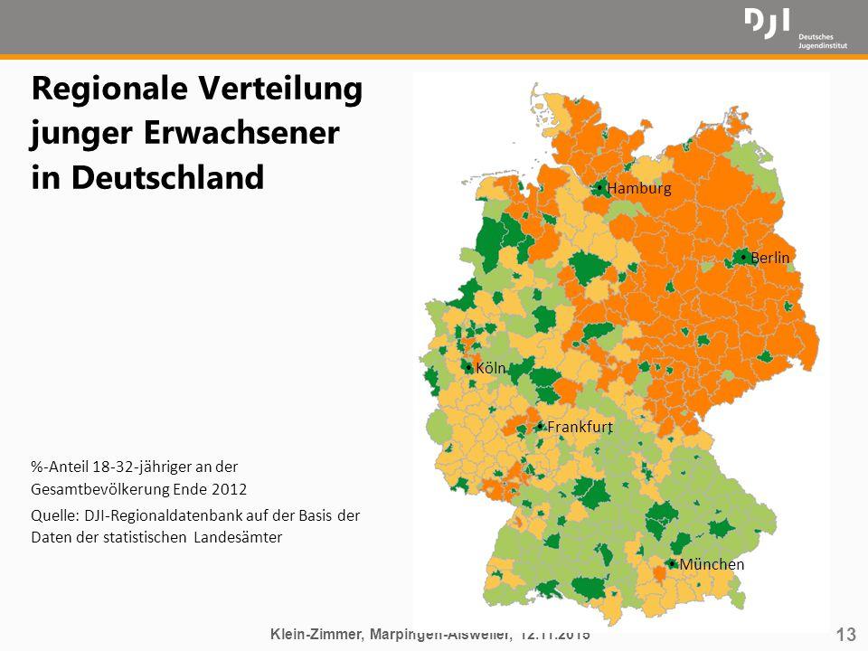 13 Regionale Verteilung junger Erwachsener in Deutschland %-Anteil 18-32-jähriger an der Gesamtbevölkerung Ende 2012 Quelle: DJI-Regionaldatenbank auf
