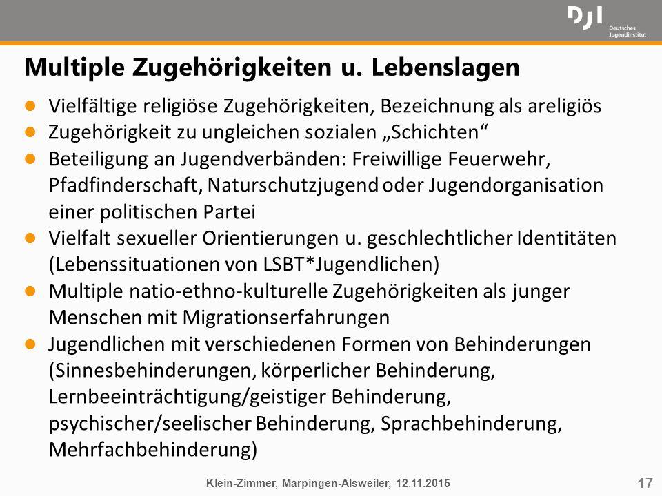 """17 Multiple Zugehörigkeiten u. Lebenslagen l Vielfältige religiöse Zugehörigkeiten, Bezeichnung als areligiös l Zugehörigkeit zu ungleichen sozialen """""""