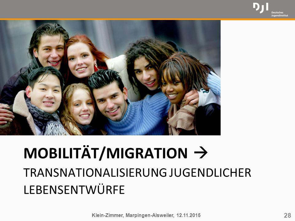 28 MOBILITÄT/MIGRATION  TRANSNATIONALISIERUNG JUGENDLICHER LEBENSENTWÜRFE Klein-Zimmer, Marpingen-Alsweiler, 12.11.2015