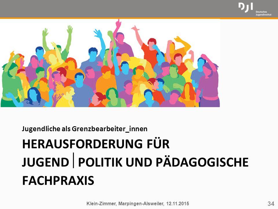 34 HERAUSFORDERUNG FÜR JUGEND  POLITIK UND PÄDAGOGISCHE FACHPRAXIS Jugendliche als Grenzbearbeiter_innen Klein-Zimmer, Marpingen-Alsweiler, 12.11.201