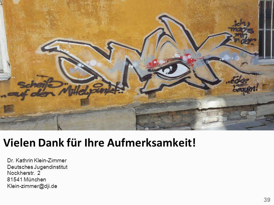 39 Vielen Dank für Ihre Aufmerksamkeit! Dr. Kathrin Klein-Zimmer Deutsches Jugendinstitut Nockherstr. 2 81541 München Klein-zimmer@dji.de