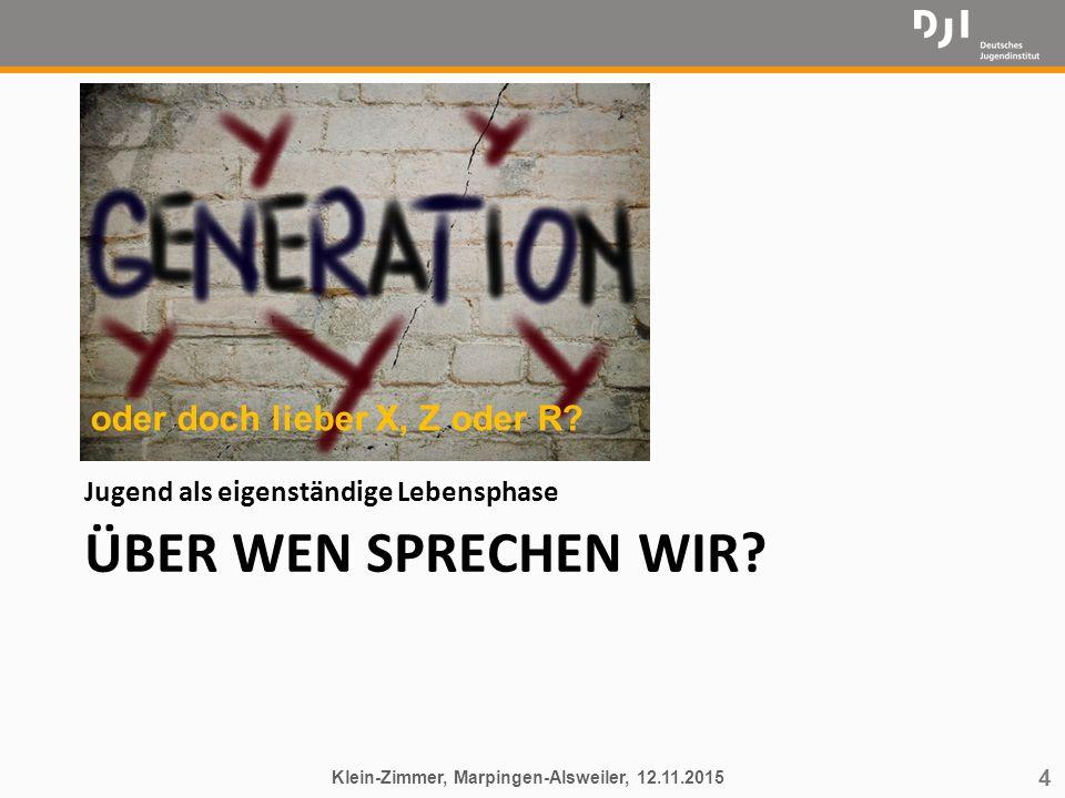 4 ÜBER WEN SPRECHEN WIR? Jugend als eigenständige Lebensphase Klein-Zimmer, Marpingen-Alsweiler, 12.11.2015 oder doch lieber X, Z oder R?