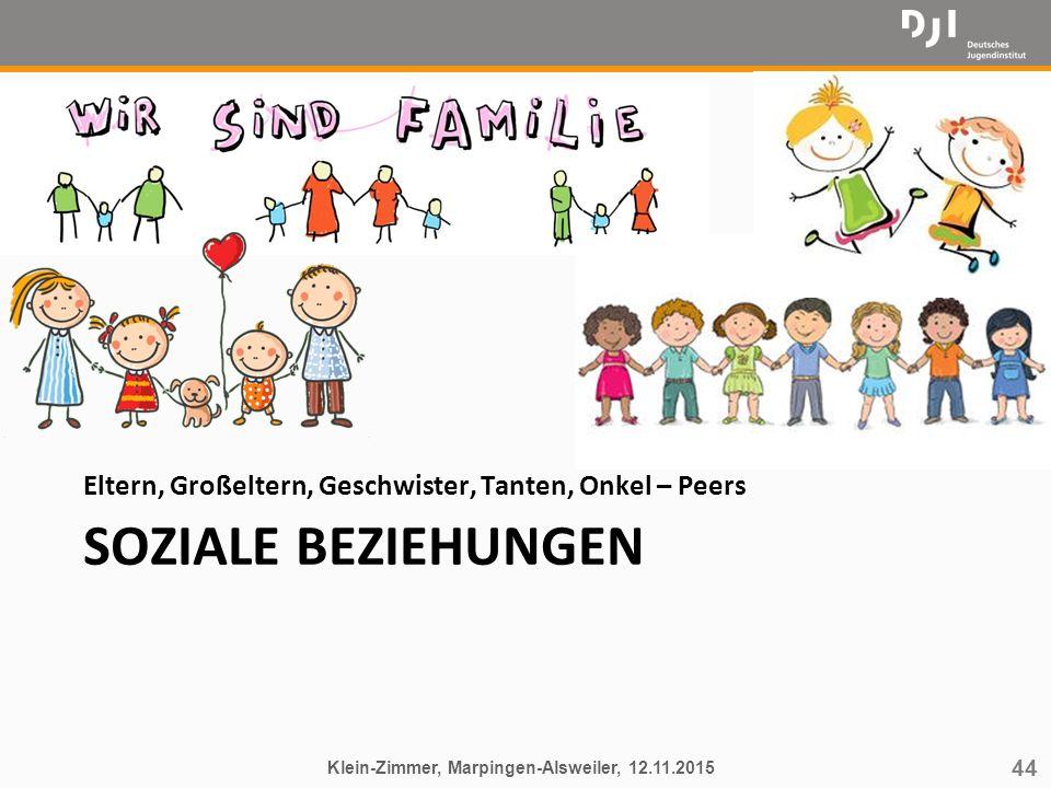 44 SOZIALE BEZIEHUNGEN Eltern, Großeltern, Geschwister, Tanten, Onkel – Peers Klein-Zimmer, Marpingen-Alsweiler, 12.11.2015
