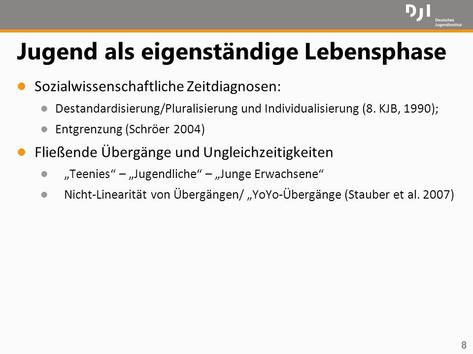 8 Jugend als eigenständige Lebensphase l Sozialwissenschaftliche Zeitdiagnosen: l Destandardisierung/Pluralisierung und Individualisierung (8. KJB, 19