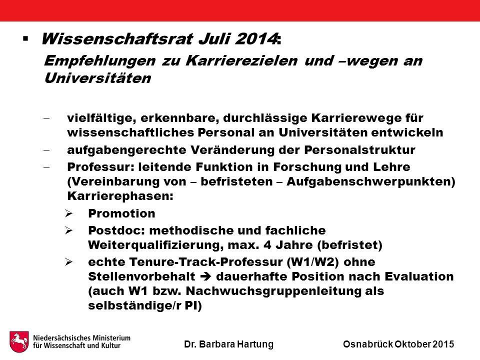Dr. Barbara HartungOsnabrück Oktober 2015  Wissenschaftsrat Juli 2014: Empfehlungen zu Karrierezielen und –wegen an Universitäten  vielfältige, erke