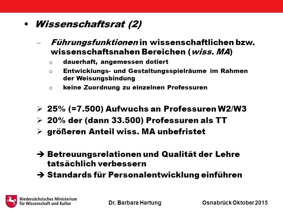 Dr. Barbara HartungOsnabrück Oktober 2015  Wissenschaftsrat (2)  Führungsfunktionen in wissenschaftlichen bzw. wissenschaftsnahen Bereichen (wiss. M