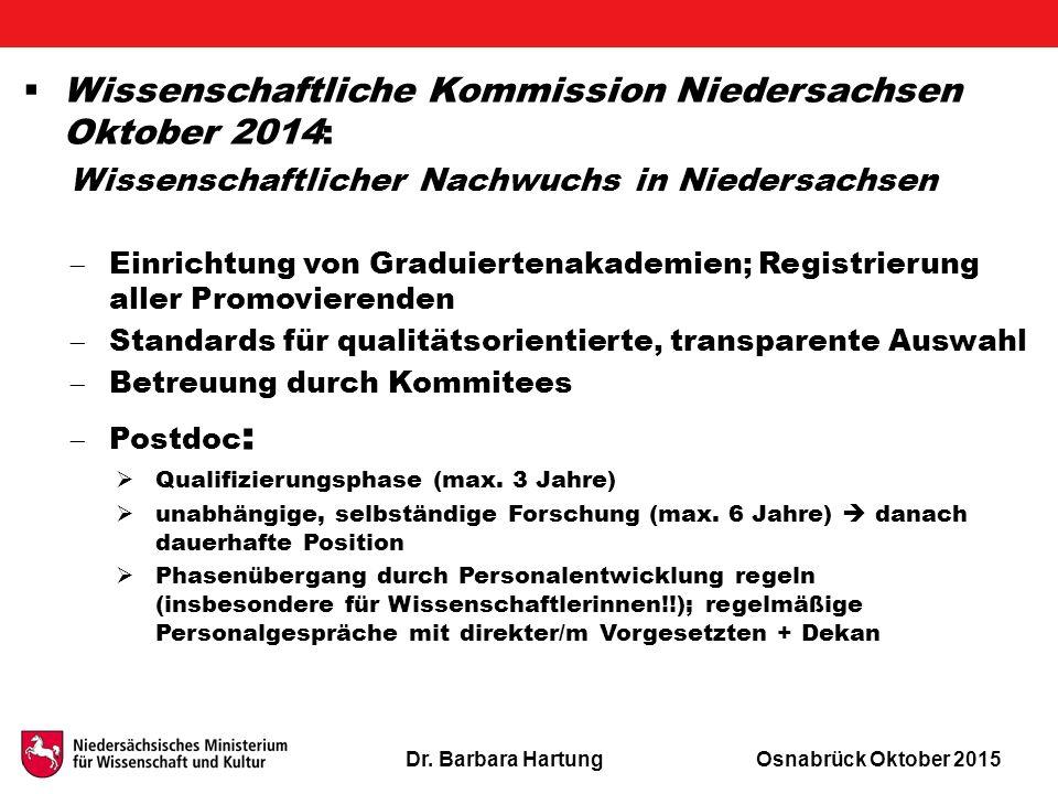 Dr. Barbara HartungOsnabrück Oktober 2015  Wissenschaftliche Kommission Niedersachsen Oktober 2014: Wissenschaftlicher Nachwuchs in Niedersachsen  E