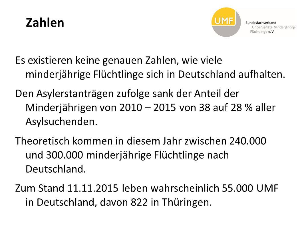 Zahlen Es existieren keine genauen Zahlen, wie viele minderjährige Flüchtlinge sich in Deutschland aufhalten. Den Asylerstanträgen zufolge sank der An