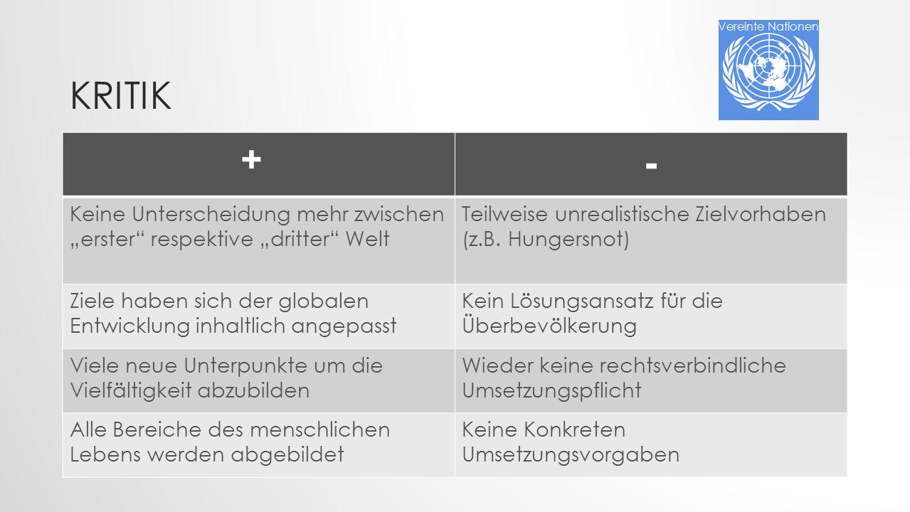"""KRITIK + - Keine Unterscheidung mehr zwischen """"erster respektive """"dritter Welt Teilweise unrealistische Zielvorhaben (z.B."""