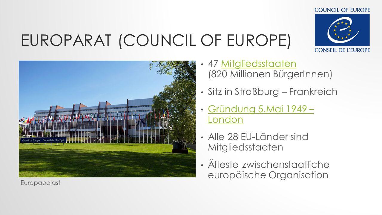EUROPARAT (COUNCIL OF EUROPE) 47 Mitgliedsstaaten (820 Millionen BürgerInnen)Mitgliedsstaaten Sitz in Straßburg – Frankreich Gründung 5.Mai 1949 – London Gründung 5.Mai 1949 – London Alle 28 EU-Länder sind Mitgliedsstaaten Älteste zwischenstaatliche europäische Organisation Europapalast