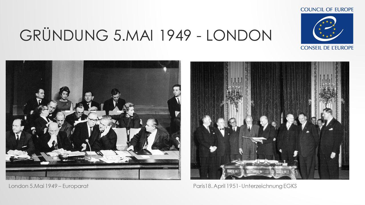 GRÜNDUNG 5.MAI 1949 - LONDON London 5.Mai 1949 – EuroparatParis18. April 1951- Unterzeichnung EGKS