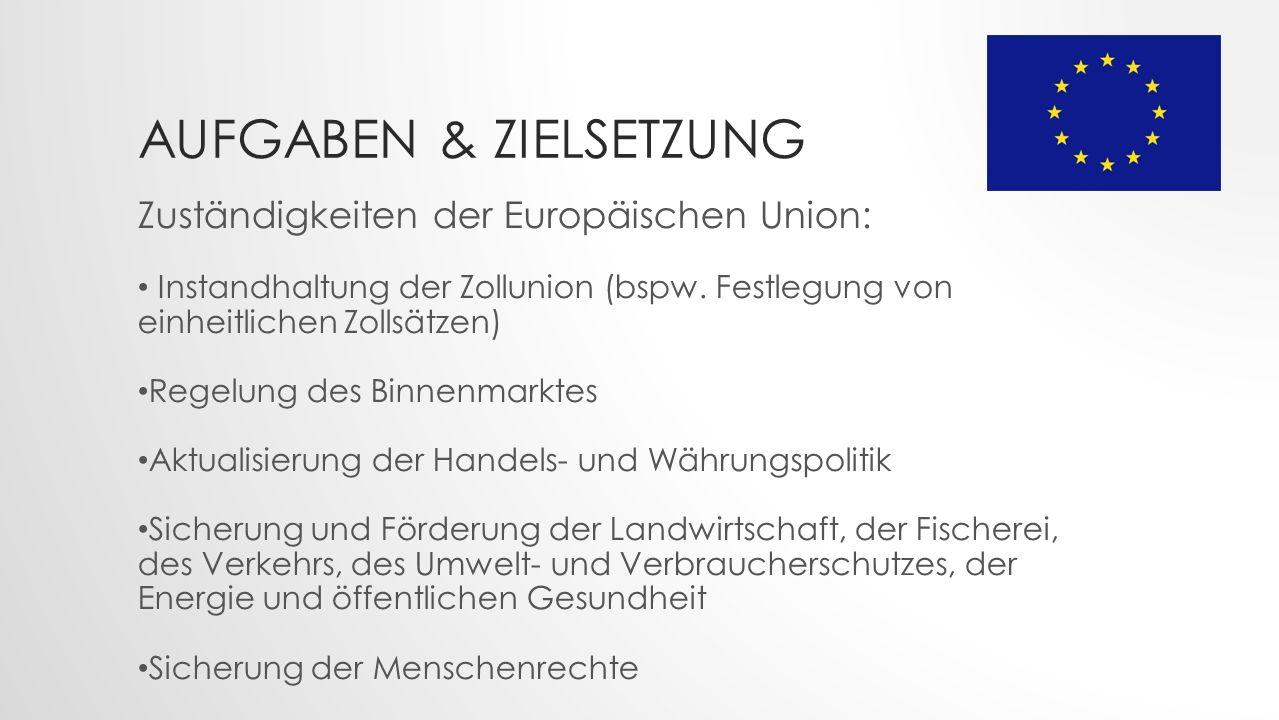 AUFGABEN & ZIELSETZUNG Zuständigkeiten der Europäischen Union: Instandhaltung der Zollunion (bspw.