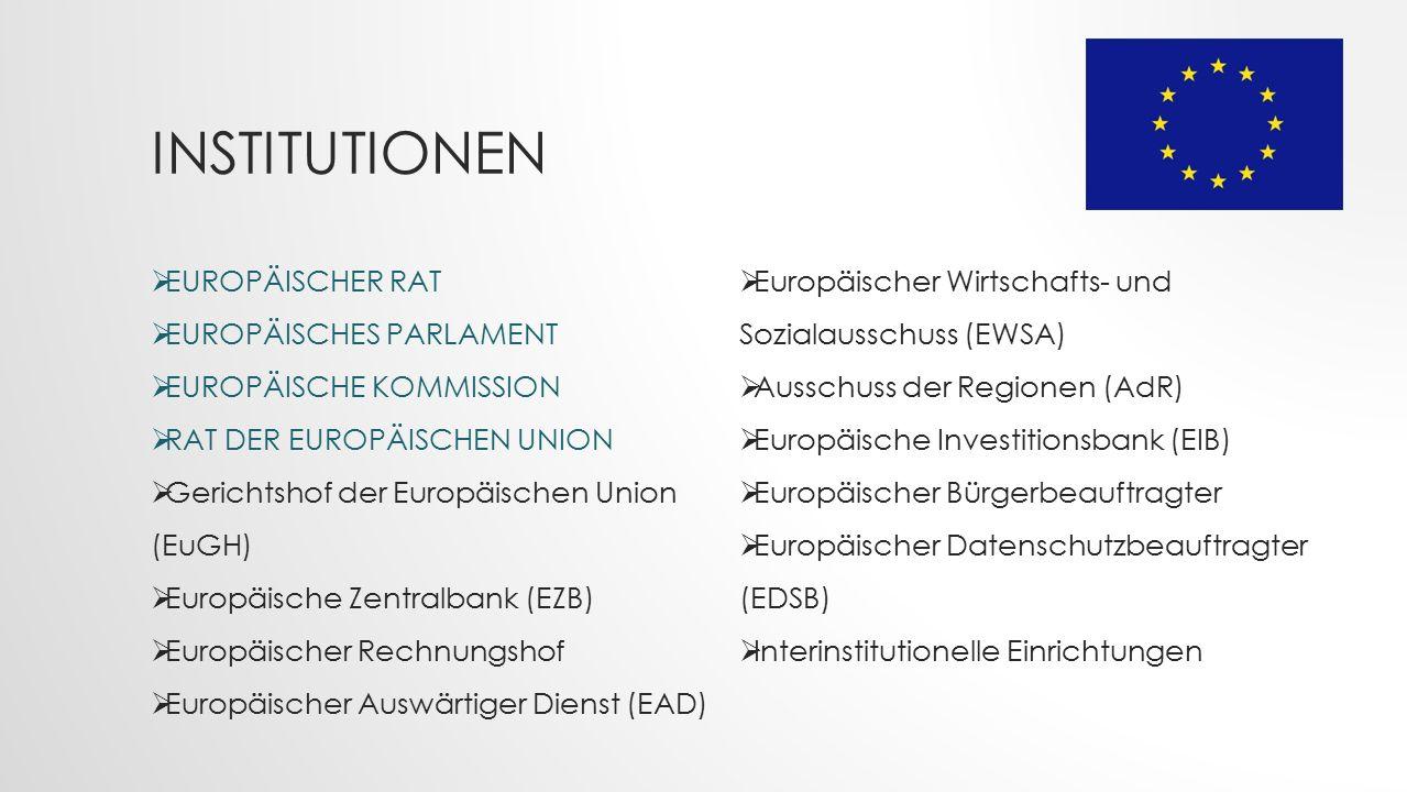 INSTITUTIONEN  EUROPÄISCHER RAT  EUROPÄISCHES PARLAMENT  EUROPÄISCHE KOMMISSION  RAT DER EUROPÄISCHEN UNION  Gerichtshof der Europäischen Union (EuGH)  Europäische Zentralbank (EZB)  Europäischer Rechnungshof  Europäischer Auswärtiger Dienst (EAD)  Europäischer Wirtschafts- und Sozialausschuss (EWSA)  Ausschuss der Regionen (AdR)  Europäische Investitionsbank (EIB)  Europäischer Bürgerbeauftragter  Europäischer Datenschutzbeauftragter (EDSB)  Interinstitutionelle Einrichtungen