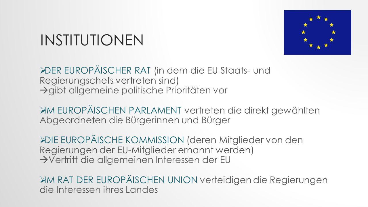 INSTITUTIONEN  DER EUROPÄISCHER RAT (in dem die EU Staats- und Regierungschefs vertreten sind)  gibt allgemeine politische Prioritäten vor  IM EUROPÄISCHEN PARLAMENT vertreten die direkt gewählten Abgeordneten die Bürgerinnen und Bürger  DIE EUROPÄISCHE KOMMISSION (deren Mitglieder von den Regierungen der EU-Mitglieder ernannt werden)  Vertritt die allgemeinen Interessen der EU  IM RAT DER EUROPÄISCHEN UNION verteidigen die Regierungen die Interessen ihres Landes