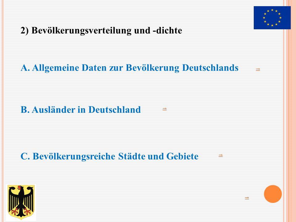 →→→→ A. Allgemeine Daten zur Bevölkerung Deutschlands B. Ausländer in Deutschland →→→→ C. Bevölkerungsreiche Städte und Gebiete →→→→ 2) Bevölkerungsve