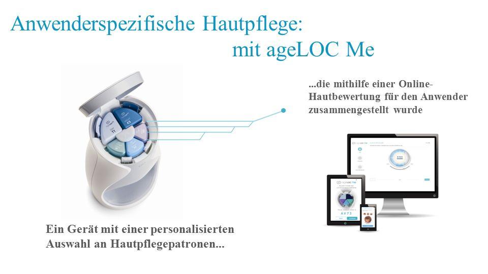 Anwenderspezifische Hautpflege: mit ageLOC Me Ein Gerät mit einer personalisierten Auswahl an Hautpflegepatronen......die mithilfe einer Online- Hautb