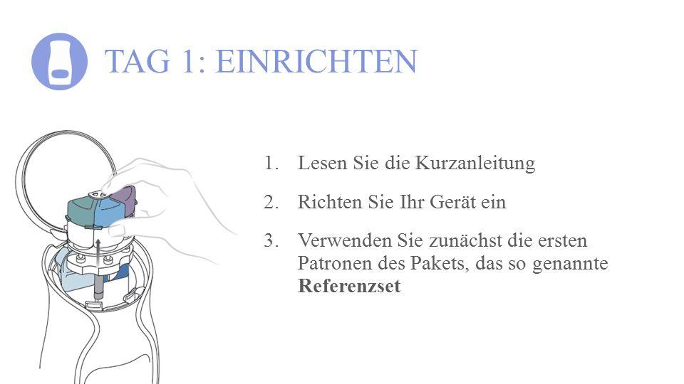 TAG 1: EINRICHTEN 1.Lesen Sie die Kurzanleitung 2.Richten Sie Ihr Gerät ein 3.Verwenden Sie zunächst die ersten Patronen des Pakets, das so genannte R