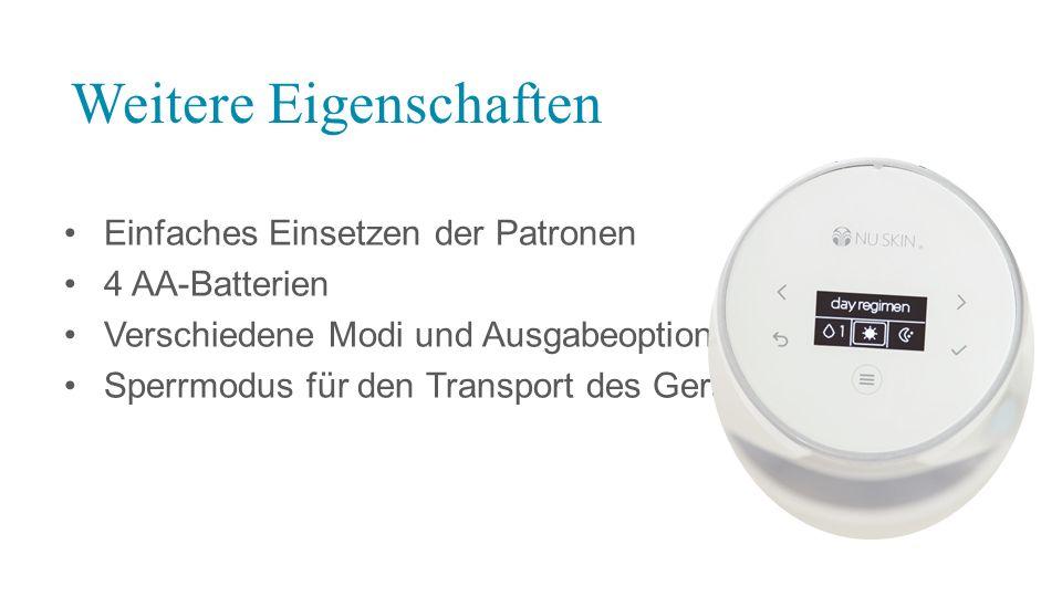 Einfaches Einsetzen der Patronen 4 AA-Batterien Verschiedene Modi und Ausgabeoptionen Sperrmodus für den Transport des Geräts Weitere Eigenschaften