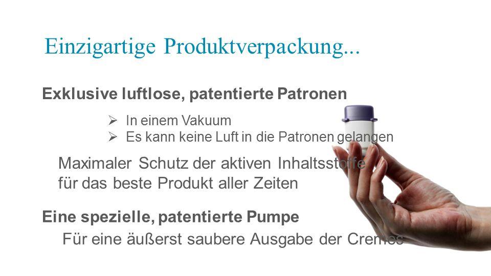 Exklusive luftlose, patentierte Patronen Einzigartige Produktverpackung...  In einem Vakuum  Es kann keine Luft in die Patronen gelangen Maximaler S