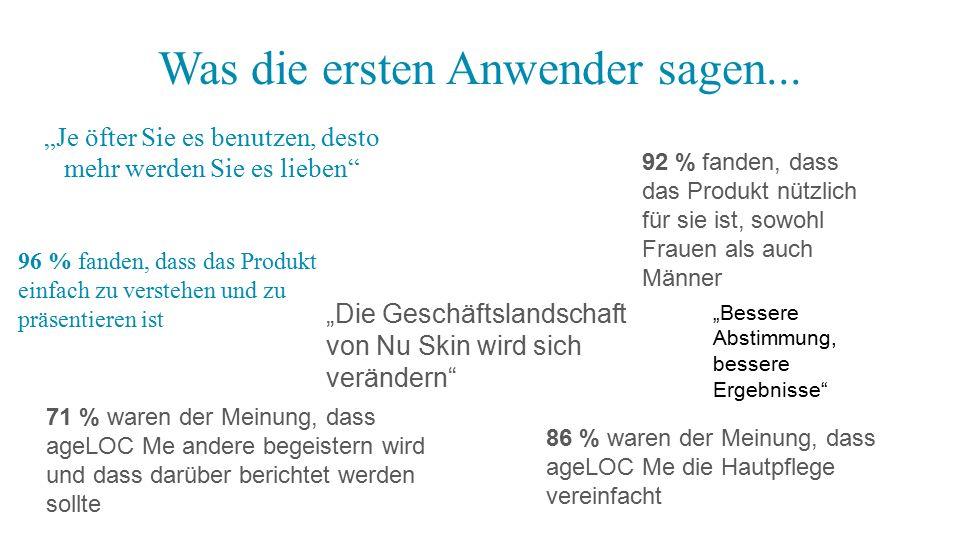 96 % fanden, dass das Produkt einfach zu verstehen und zu präsentieren ist 86 % waren der Meinung, dass ageLOC Me die Hautpflege vereinfacht 92 % fand
