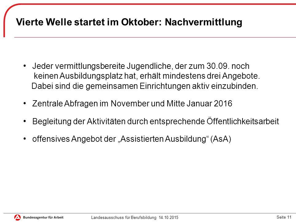 Seite 11 Vierte Welle startet im Oktober: Nachvermittlung Jeder vermittlungsbereite Jugendliche, der zum 30.09. noch keinen Ausbildungsplatz hat, erhä