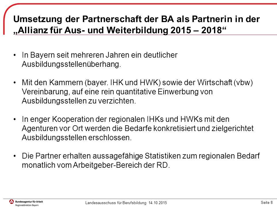 """Seite 9 In Bayern haben 15 Agenturen einen Ausbildungsplatzakquisiteur im Rahmen der Initiative """"Betriebliche Ausbildung hat Vorfahrt eingerichtet."""