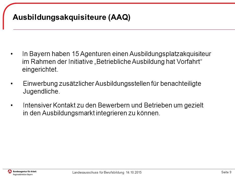 """Seite 9 In Bayern haben 15 Agenturen einen Ausbildungsplatzakquisiteur im Rahmen der Initiative """"Betriebliche Ausbildung hat Vorfahrt"""" eingerichtet. E"""