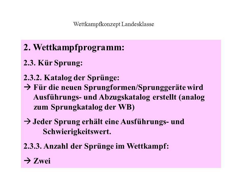 2. Wettkampfprogramm: 2.3. Kür Sprung: 2.3.2. Katalog der Sprünge:  Für die neuen Sprungformen/Sprunggeräte wird Ausführungs- und Abzugskatalog erste