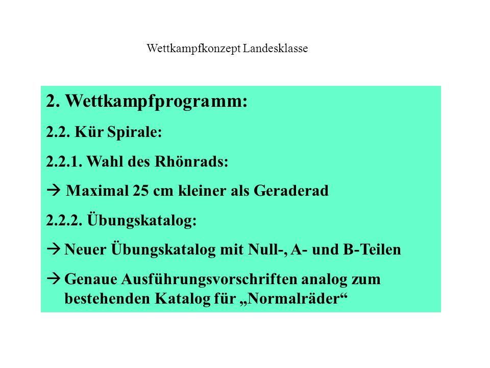 2. Wettkampfprogramm: 2.2. Kür Spirale: 2.2.1. Wahl des Rhönrads:  Maximal 25 cm kleiner als Geraderad 2.2.2. Übungskatalog:  Neuer Übungskatalog mi