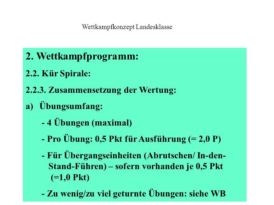 2. Wettkampfprogramm: 2.2. Kür Spirale: 2.2.3. Zusammensetzung der Wertung: a)Übungsumfang: - 4 Übungen (maximal) - Pro Übung: 0,5 Pkt für Ausführung