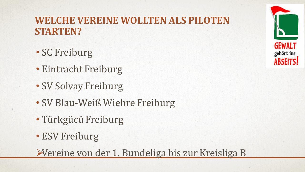 WELCHE VEREINE WOLLTEN ALS PILOTEN STARTEN? SC Freiburg Eintracht Freiburg SV Solvay Freiburg SV Blau-Weiß Wiehre Freiburg Türkgücü Freiburg ESV Freib