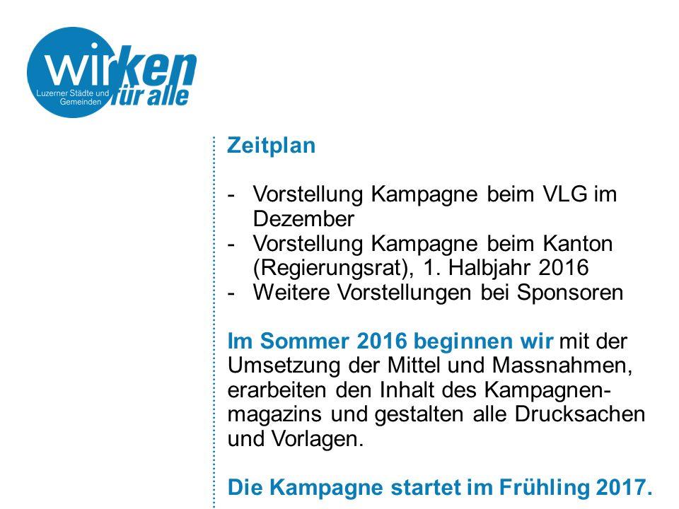 Zeitplan -Vorstellung Kampagne beim VLG im Dezember -Vorstellung Kampagne beim Kanton (Regierungsrat), 1. Halbjahr 2016 -Weitere Vorstellungen bei Spo