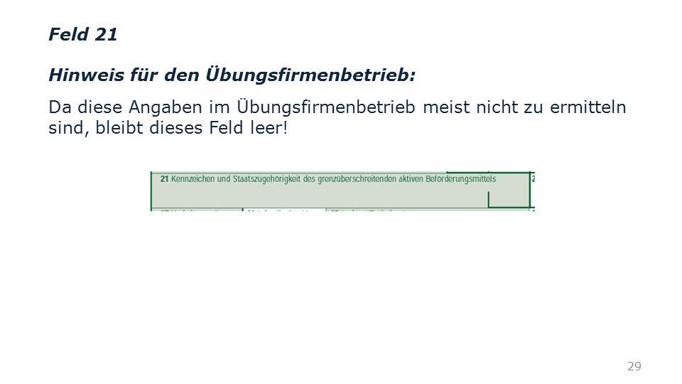 Feld 21 Hinweis für den Übungsfirmenbetrieb: Da diese Angaben im Übungsfirmenbetrieb meist nicht zu ermitteln sind, bleibt dieses Feld leer! 29